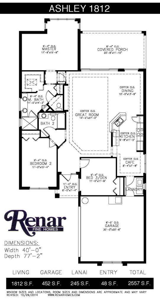 Renar Homes Ashley 1812 - Floorplan